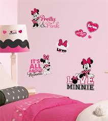 wall decals and sticker ideas for children bedrooms vizmini lovely pink mickey mouse themed wall stickers for girls bedroom