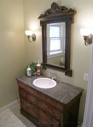bathroom remodel with antique dresser drawers converted into a for