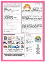 Reading Comprehension 7th Grade Worksheets The Place Where I Live Reading Comprehension Worksheet Free Esl