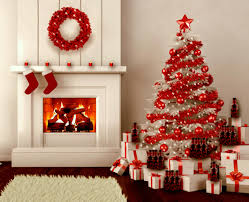white christmas tree with red and silver decorations u2013 happy holidays