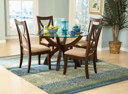 Stardust Espresso Round Glass Top Dining Table Set Living Room - Round glass kitchen table sets