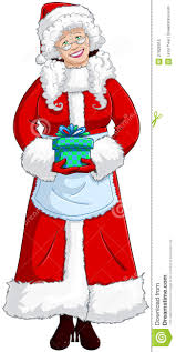 mrs santa claus holding a present for christmas royalty free stock