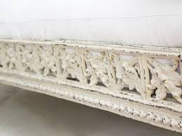 19th century antique painted white metal french iron daybed