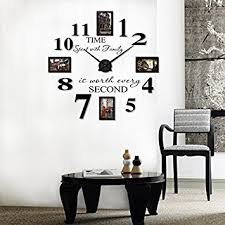 home decor wall clocks amazon com reliable e inspirational quotes wall sticker photo frame