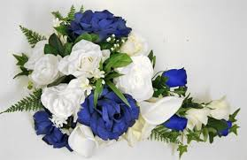 white and blue roses ivory or white and blue roses callas cascading bouquet