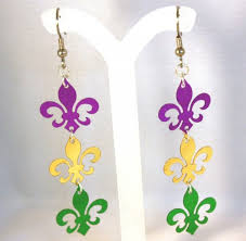 mardi gras earrings mardi gras fleur de lis earrings tuesday dangles