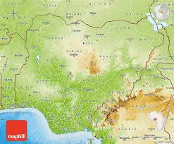 nigeria physical map physical map of nigeria