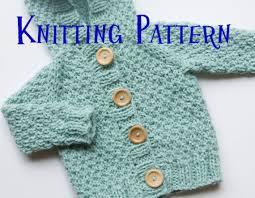 Sweater Toddler Pdf Knitting Pattern Hooded Cardigan Infant Sweater Baby