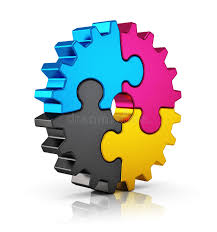 cymk puzzle cmyk puzzle gear stock illustration illustration of factory 33949568