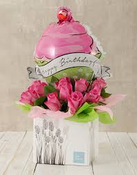 send birthday balloons in a box buy happy birthday pink and cupcake balloon box online