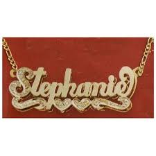 gold nameplate gold name plate necklace clipart