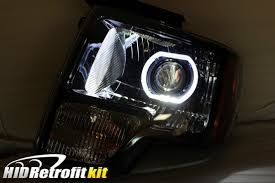 ford f 150 f150 custom bi xenon hid retrofit headlights white halo