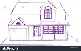 Blue Print Of House Blueprint Proprietary House Perspective View Stock Vector 29073145