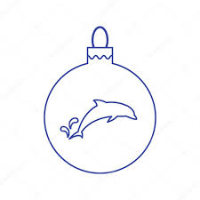 vector icon christmas ball with silhouette of dolphin in trendy