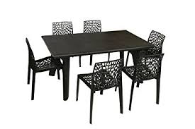 table and chairs plastic supreme bison six seater dining table set black amazon in home