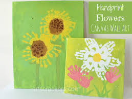 Kids Handprint Crafts Handprint Flowers Canvas Wall Art Step By Step Tutorial