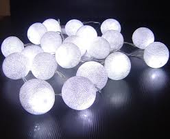 white cotton battery operated led lights
