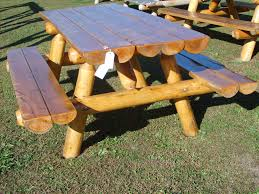 Outdoor Patio Table Plans by Log Picnic Table Plans Outdoor Patio Tables Ideas