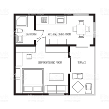 vector flat projection apartmentsmall house plan with furniture