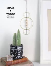 minimalist wall hanging u2013 brass and wood