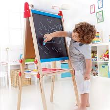 hape magnetic all in 1 kids drawing painting chalk art board