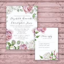 Personalised Wedding Invitation Cards Floral Wedding Invitation Suite Print At Home Files Or Printed