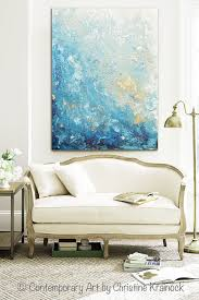 blue and white home decor giclee print large art abstract painting blue white wall art