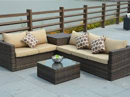 5 pcs pe wicker rattan sofa set outdoor garden furniture with cushion