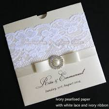 wedding invitations with ribbon ca0611 ivory lace wedding invitations with ribbon and rhinestone