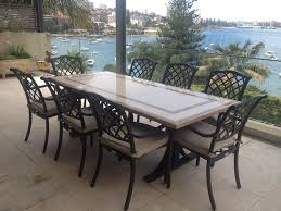 Glass Top Patio Dining Table Natural Stone Outdoor Tables