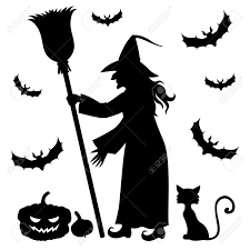 vector illustrations of halloween silhouette witch holding