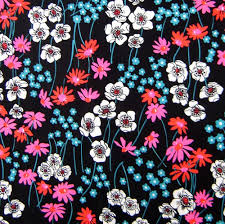 Flower Fabric Design 60s 70s Vintage Floral Fabric Vintage Floral Fabric Vintage