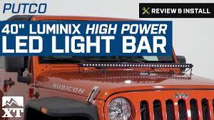 jeep jk hood led light bar jeep wrangler putco 40 luminix high power led light bar 1987 2017