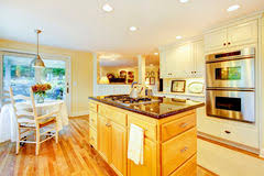 Kitchen Yellow Walls - kitchen interior with white cabinets yellow walls and wood floor