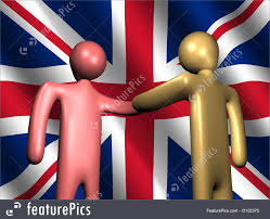 British Flag With Red Cooperation Concept Handshake With British Flag Stock
