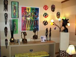 african living room decor with statuettes and masks modern