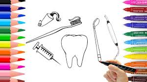 draw dentist kit how to draw dentist tools coloring pages and