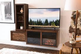 mid century modern wall mount fireplace tv console eco geo mocha