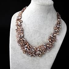 chunky jewelry necklace images Wholesale rose gold rhinestone flower statement chunky choker jpg
