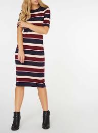 coloured dress multi coloured stripe knitted midi dress dorothy perkins