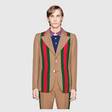 heritage web tape crêpe wool jacket gucci men s jackets