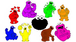 learn colors colours with cookie monster coloring colouring pages