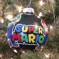 handpainted super mario christmas ornament featuring the classic