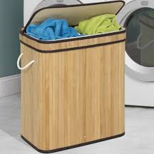 Laundry Hamper Double by Double Laundry Bamboo Hamper Light Brown U2013 Best Choice Products