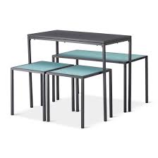 Outdoor Balcony Set by 4pc Metal Rectangle Outdoor Nesting Dining Set Dark Gray