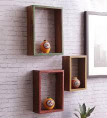 buy brown sheesham wood wall shelves set of 3 by vareesha
