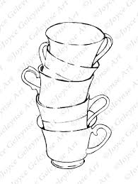 digital stamp coloring page stack of teacups freehand