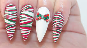how to christmas water marble on acrylic nails youtube