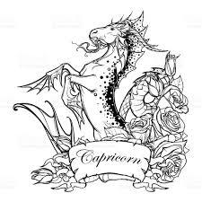 zodiac sign capricorn bw sketch stock vector art 639297664 istock