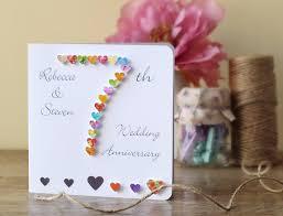 handmade 3d 7th wedding anniversary card personalised seventh